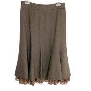 Loft Brown A-line Wool Skirt